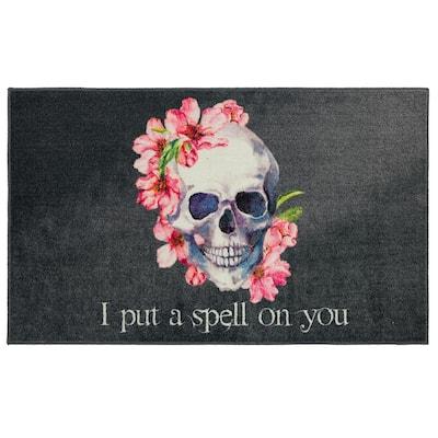 Skull Spell Purple 2 ft. x 3 ft. 4 in. Halloween Indoor Area Rug