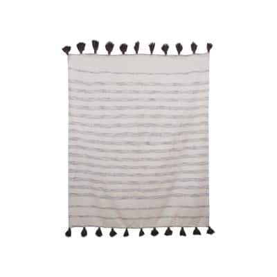 Cream with Grey Stripes and Tassels Cotton Woven Throw Blanket