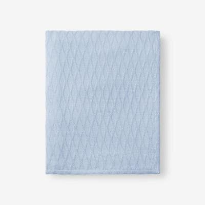 Cotton Bamboo Misty Blue Woven Throw Blanket