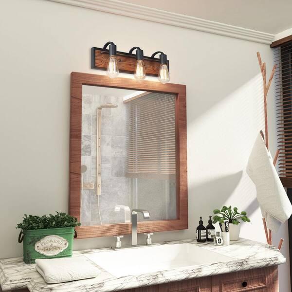 Lnc Rustic Bathroom Vanity Light Wayner 3 Light Matte Black Wood Vanity Light Modern Industrial Water Pipe Wall Sconce A03440 The Home Depot