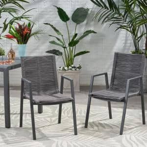 Deloris Grey Aluminum Outdoor Dining Chair in Dark Grey (2-Pack)