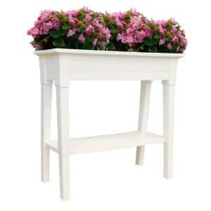 36 in. x 15 in. White Deluxe Resin Garden Planter