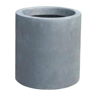 15.8 in. Tall Charcoal Lightweight Concrete Outdoor Modern Cylindrical Planter