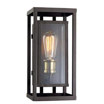 Showcase 13 in. 1-Light Rubbed Oil Bronze and Antique Brass Outdoor Wall Sconce with Clear Glass