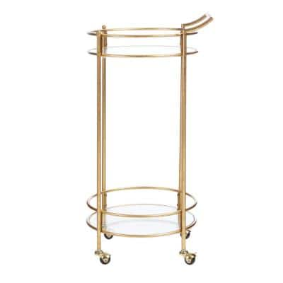 Bella Gold Leaf Metal and Glass Rolling Bar Cart with Glass Top (17.5 in. W x 35 in. H)
