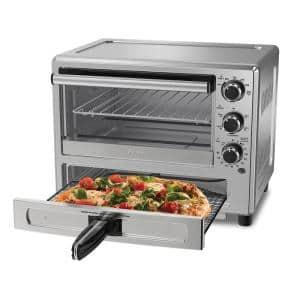 1400 Watt Brushed Stainless Steel Convection Countertop Oven with Pizza Drawer