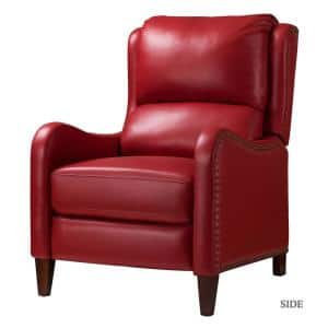 Hyde Red Nailhead Genuine Leather Recliner