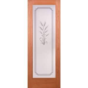 30 in. x 80 in. 1 Lite Unfinished Cherry Harvest Woodgrain Interior Door Slab
