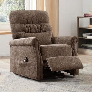 Brown Color Soft Fabric Upholstery Power Lift Chair with Remote