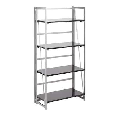 Folia 49 in. Silver Metal and Black Wood 4-Shelf Bookcase