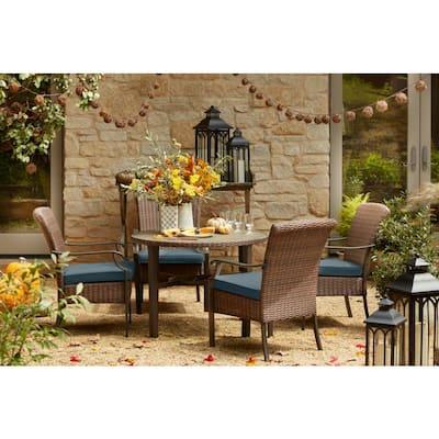 Harper Creek 5-Piece Brown Steel Outdoor Patio Dining Set with Sunbrella Denim Blue Cushions