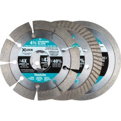 X-LOCK 4-1/2 in. Diamond Blade Variety Pack for Masonry Cutting (3-Pieces)