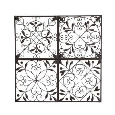 Chakra 4-Panel Iron Wall Art in Brown