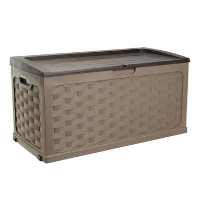 88 Gal. Plastic Mocha Brown Rattan Deck Box
