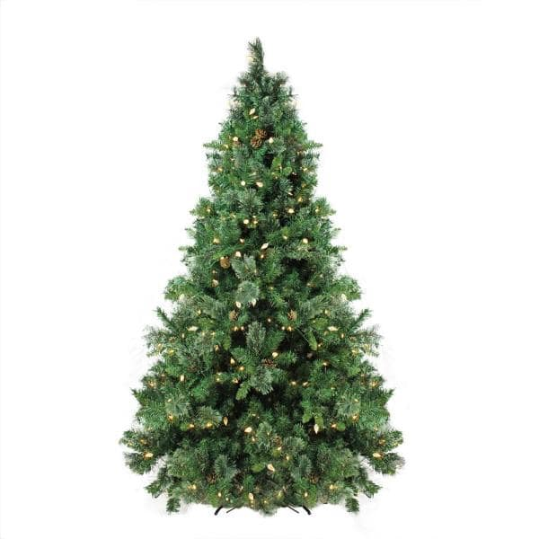 Northlight 7 5 Ft Pre Lit Single Plug Mixed Cashmere Pine Self Shape Artificial Christmas Tree Warm White Led Lights 31752266 The Home Depot