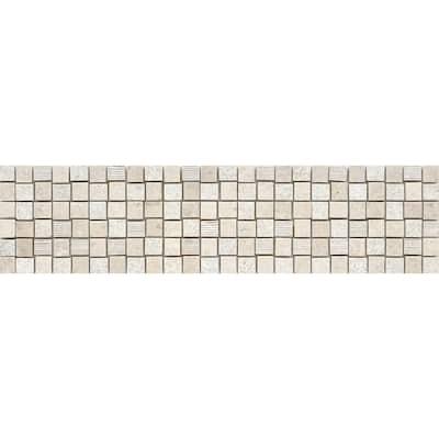 Limestone Presidio Ivory Ivory 5.83 in. x 23.54 in. Squares Honed Limestone Mosaic Tile (0.953 sq. ft./Each)