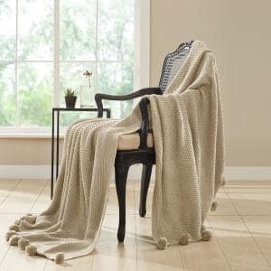 Sand Cable Knit Throw with Pom Poms