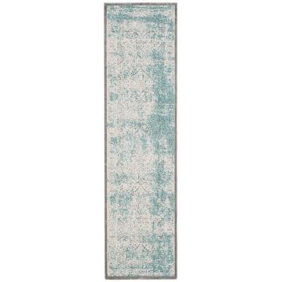 Passion Turquoise/Ivory 2 ft. x 12 ft. Border Runner Rug
