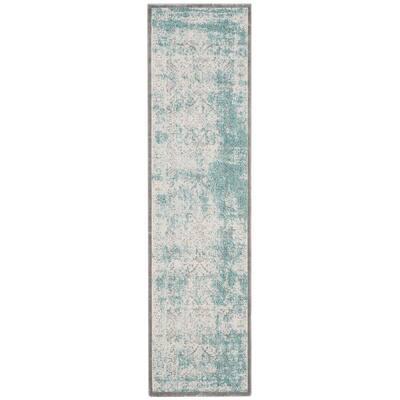Passion Turquoise/Ivory 2 ft. x 14 ft. Border Runner Rug