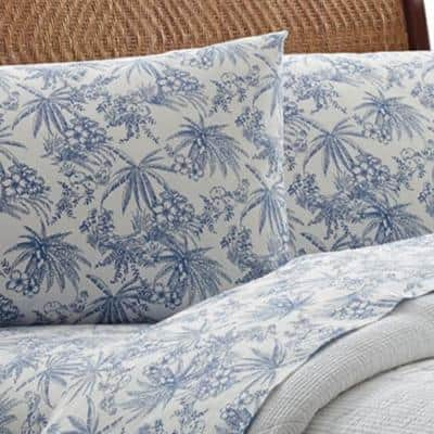Pen and Ink Palm Floral 200-Thread Count Cotton Sheet Set