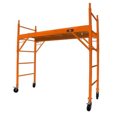 6.25 ft. x 2.5 ft. x 6.25 ft. Baker-Style Multi-Purpose Rolling Steel Scaffolding Set 1000 lbs. Load Capacity