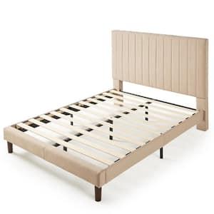 Debi Beige King Upholstered Platform Bed