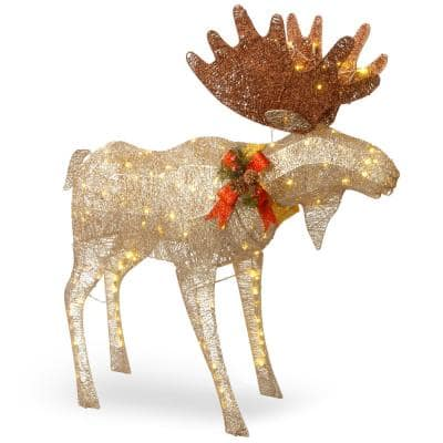 48 in. Moose Decoration with White LED Lights