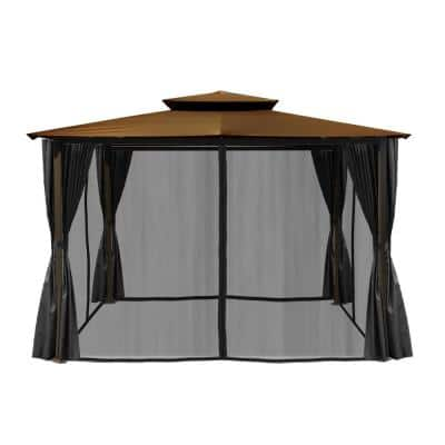 Paragon 10 ft. x 12 ft. Gazebo with Cocoa Top and Privacy Curtains and Mosquito Netting