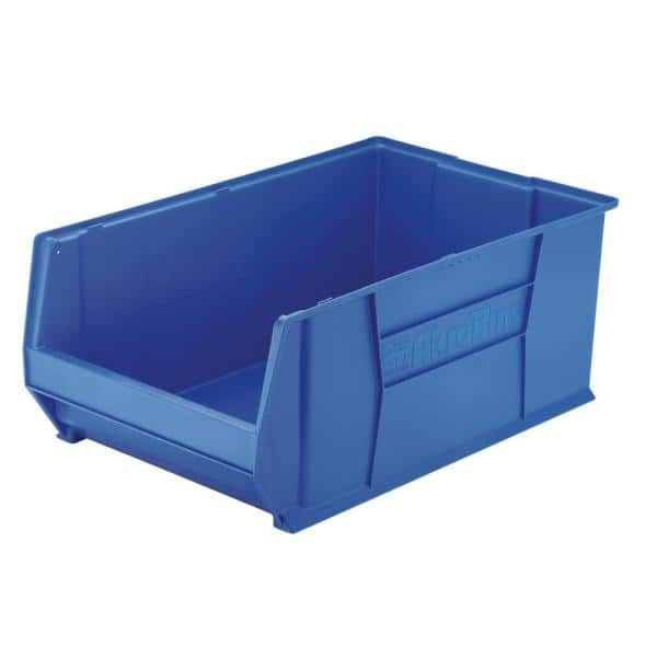 Akro Mils Super Size Akrobin 18 3 In 300 Lbs Storage Tote Bin In Blue With 22 Gal Storage Capacity 30290blue The Home Depot