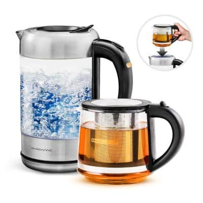 7-Cup 1.7 l Silver Glass Electric Kettle with ProntoFill Technology-Fill Up with Lid On Glass Reusable Teapot Infuser