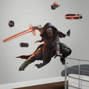 2.5 in. W x 27 in. H Star Wars EP VII Kylo Ren 13-Piece Peel and Stick Giant Wall Decal with Glow in the Dark