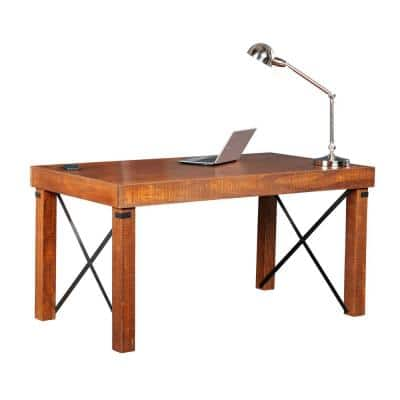60 in Rectangular Hewn Pallet Writing Desk with Solid Wood and Wood Veneer Material