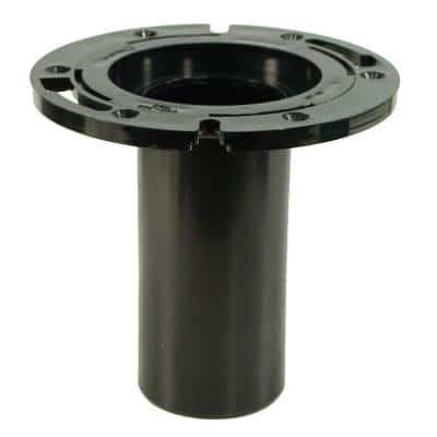 7 in. O.D. ABS Closet (Toilet) Flange with 6 in. Long Barrel and Plastic Adjustable Ring, fits Inside 3 in. Sch. 40 Pipe