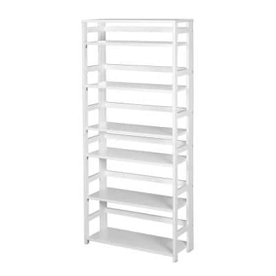 67 in. White Wood 6-shelf Standard Bookcase