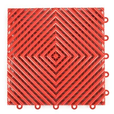 Perforated Click 12-1/8 in. x 12-1/8 in. Red Plastic Garage Floor Tile (25-Pack)