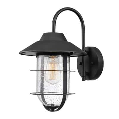 Matthews Matte Black Outdoor Indoor Wall Lantern Sconce with Seeded Glass Shade