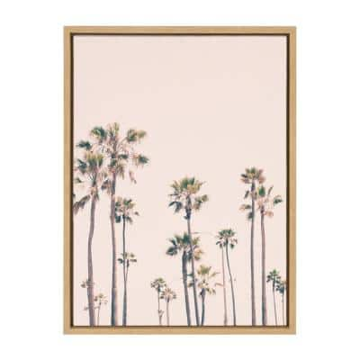 """Sylvie """"Pink Palm Tree Paradise"""" by Caroline Mint Framed Canvas Wall Art 18 in. x 24 in."""
