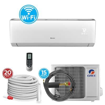 18,000 BTU 1.5 Ton Wi-Fi Programmable Ductless Mini Split Air Conditioner with Heat Kit - 230-208-Volt/60Hz