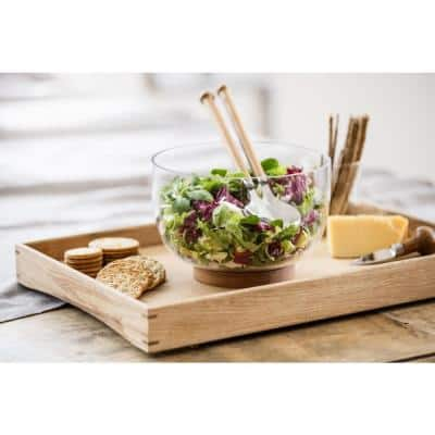 Nature 8 5/8 in. 4 Cup Glass Salad Bowl with Oak Trivet, Clear