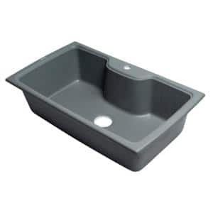 Drop-In Granite Composite 34.63 in. 1-Hole Single Bowl Kitchen Sink in Titanium