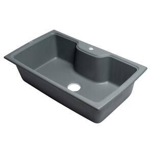 Drop-In Granite Composite 34.63 in. 1-Hole Single Bowl Kitchen Sink in Titanium