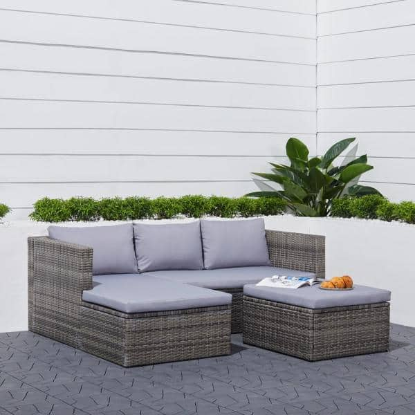 Vifah Daytona 3 Piece Wicker Outdoor, For Living 3 Piece Wicker Patio Sectional Set With Cushions