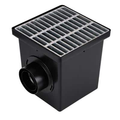 12 in. Plastic Square Drainage Catch Basin, 2 Opening Kit with Metal Grate
