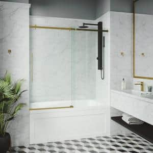 Luca 56 to 60 in. W x 58 in. H Sliding Frameless Tub Door in Matte Gold with Clear Glass