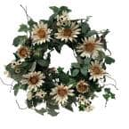 24 in. Unlit Green Artificial Wreath with White Cream Sunflowers