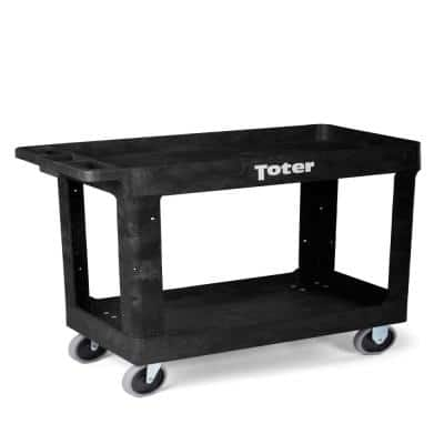 550 lbs. Capacity 34.5 in. x 16.5 in. x 32.5 in. Black Plastic 2-Tier 4-Wheeled Lipped Top Straight Handle Utility Cart
