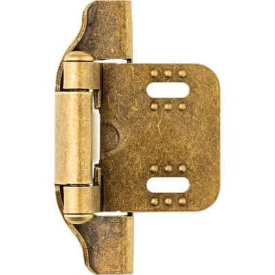 Antique Brass Semi-Wrap 1/4 in. Overlay Cabinet Hinge (1-Pair)