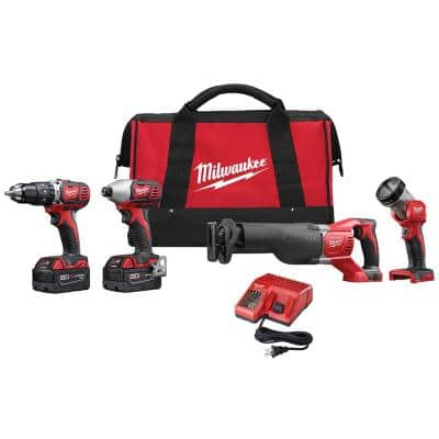 M18 18-Volt Lithium-Ion Cordless Combo Tool Kit with Two 3.0Ah Batteries, 1-Charger, 1-Tool Bag (4-Tool)