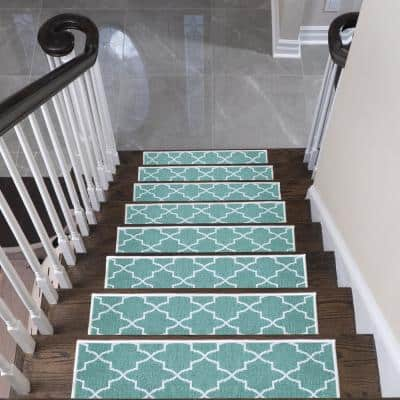 """Lattice Design 9"""" X 28"""" Stair Treads - 70 % Cotton Carpet for Indoor Stairs-with Double Adhesive Tape-Safe, 7-Pack-Teal"""