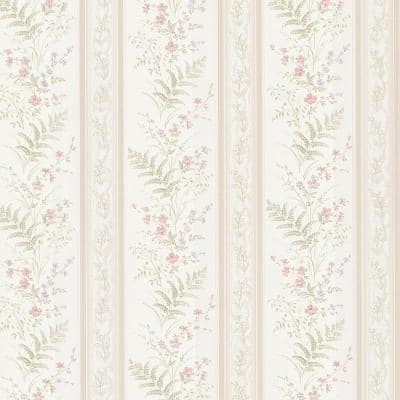 Brewster Bell Pink Wildflower Stripe Pink Wallpaper Sample 347 20146sam The Home Depot